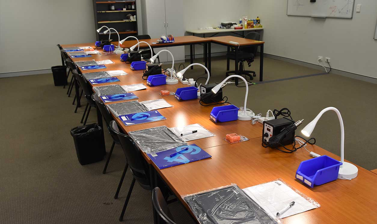 Well equipped classroom for phone repair training